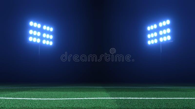 Le stade de football allume des réflecteurs sur le fond noir et ainsi image stock