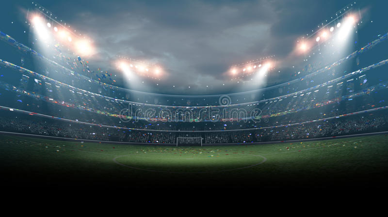 Le stade de football imaginaire, rendu 3d illustration libre de droits