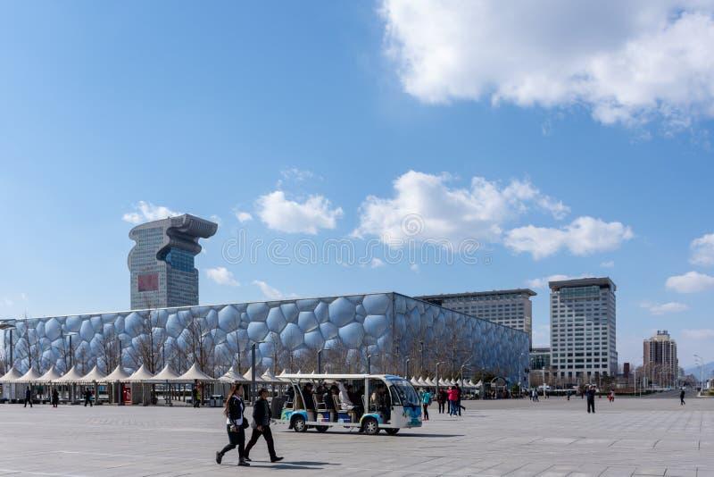 Le Stade Olympique - cube en eau images libres de droits