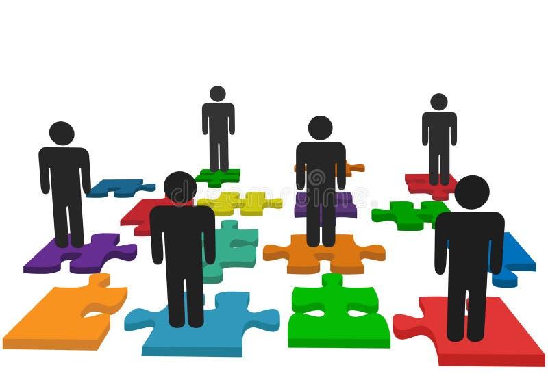 Le stand d'équipe de gens de symbole sur le puzzle denteux rapièce illustration de vecteur