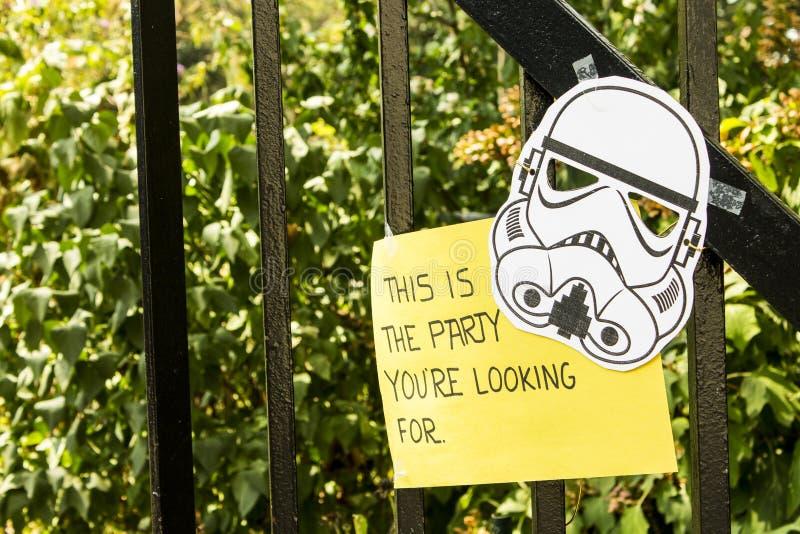 Le Star Wars fait la fête l'entrée image stock