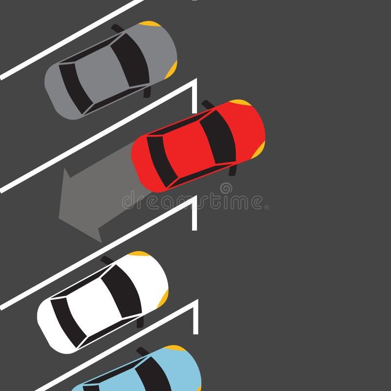 Le stationnement de voiture de ci-dessus supérieur trouvent le véhicule automatique de sonde de l'espace illustration de vecteur