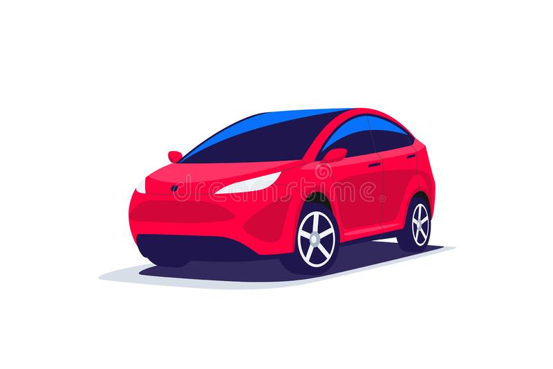 Le stationnement rouge de voiture de Suv de résumé moderne a isolé illustration stock