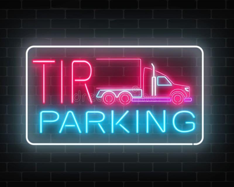 Le stationnement rougeoyant de TIR de néon se connectent un fond de mur de briques Enseigne de lueur d'un long camion et des cami illustration stock
