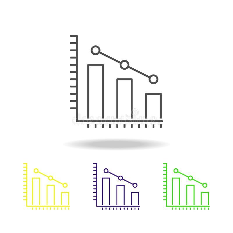 le statistiche, dati hanno colorato le icone Elemento dell'illustrazione di scienza Illustrazione al tratto sottile per progettaz royalty illustrazione gratis