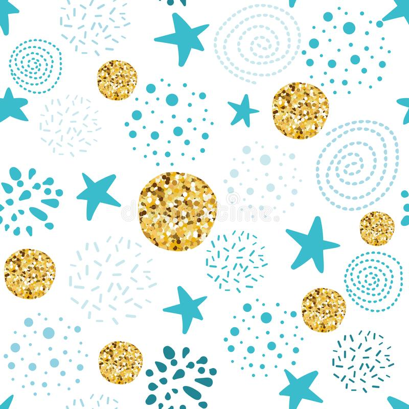 Le stelle astratte senza cuciture del pois del modello di vettore ornano la doccia di bambino blu dorata del ragazzo di Natale de illustrazione vettoriale