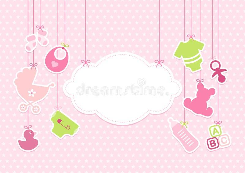 Le stelle d'attaccatura della nuvola delle icone della carta del bambino modellano rosa illustrazione di stock