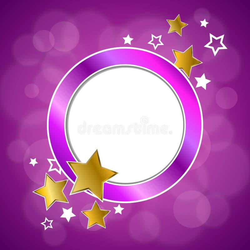 Le stelle d'oro viola di rosa astratto del fondo circondano l'illustrazione della struttura illustrazione vettoriale