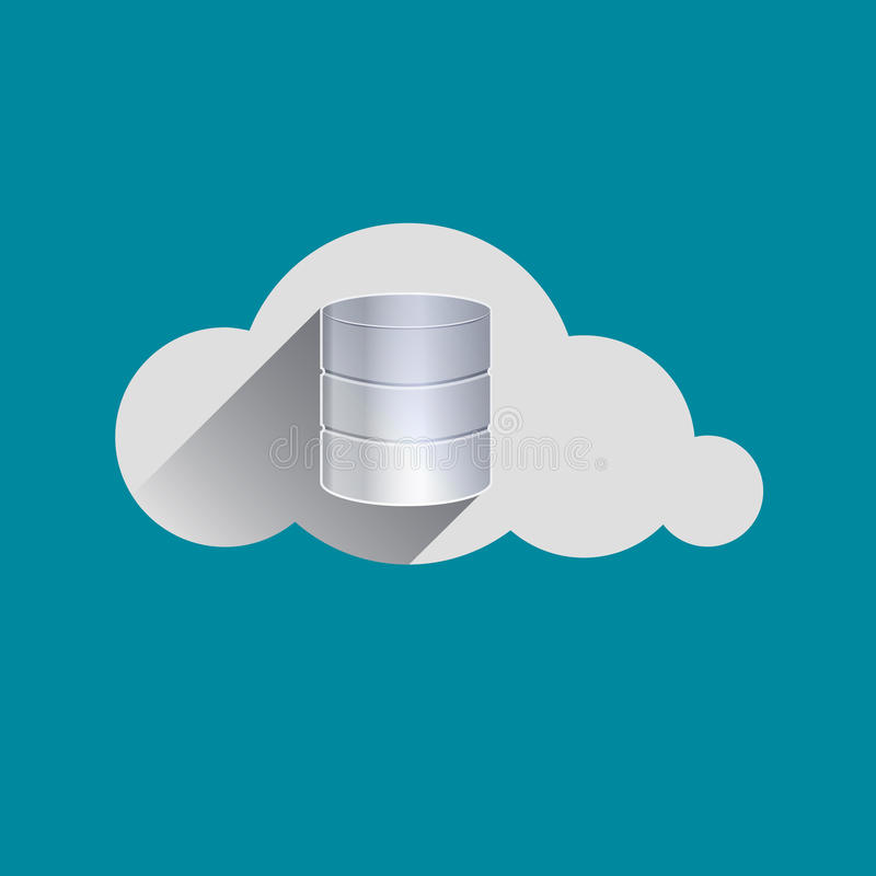 Le stockage conduit l'icône plate de conception de nuage de connexion illustration libre de droits