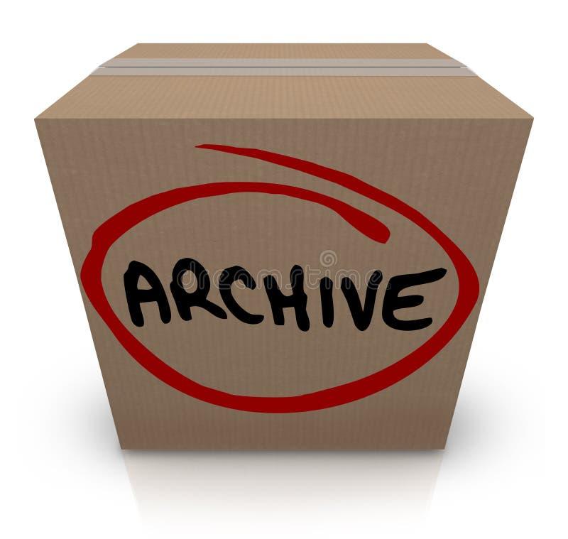 Le stockage de fichier de disque de boîte en carton d'archives a emballé vers le haut de mettre loin illustration de vecteur