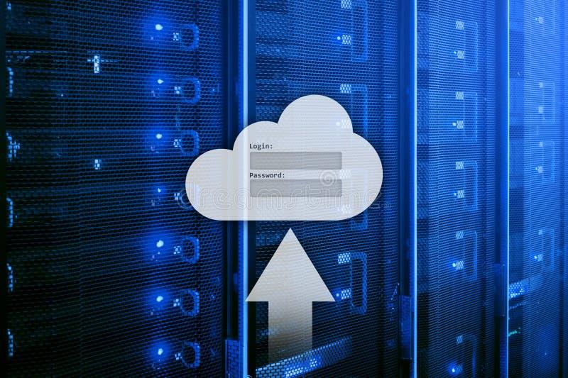 Le stockage, l'accès aux données, le login et le mot de passe de nuage demandent la fenêtre sur le fond de pièce de serveur E photographie stock