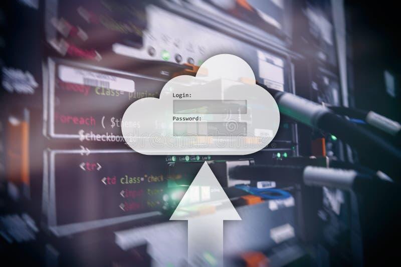 Le stockage, l'accès aux données, le login et le mot de passe de nuage demandent la fenêtre sur le fond de pièce de serveur E image libre de droits