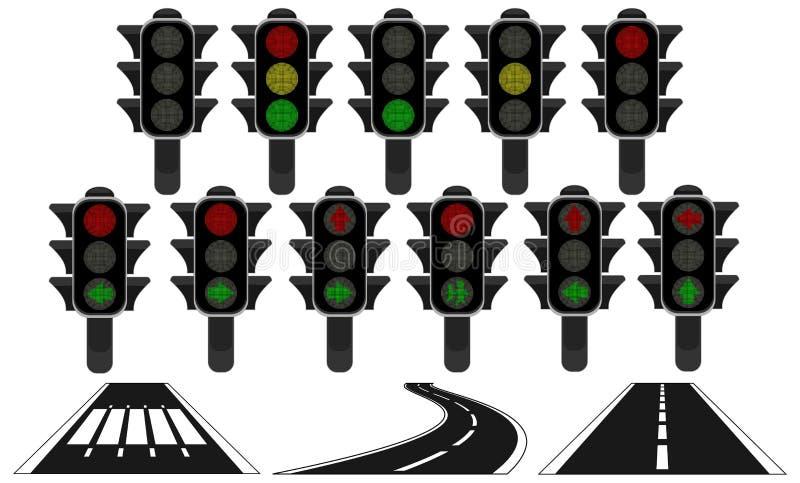 Le strade del semaforo hanno isolato il bianco illustrazione di stock