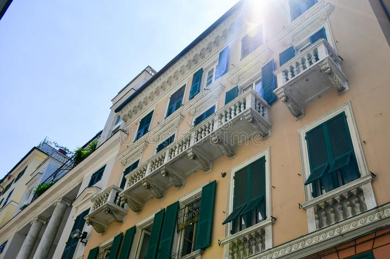 Le Strade Nuove Genoa , Italy. Colorful buildings at Le Strade Nuove in Genoa , Italy, Liguria region royalty free stock image
