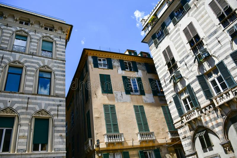 Le Strade Nuove Genoa , Italy. Colorful buildings at Le Strade Nuove in Genoa , Italy, Liguria region royalty free stock images