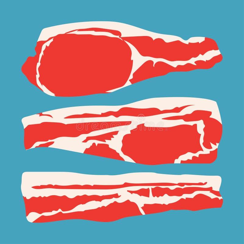 Le strisce hanno affettato il bacon illustrazione di stock