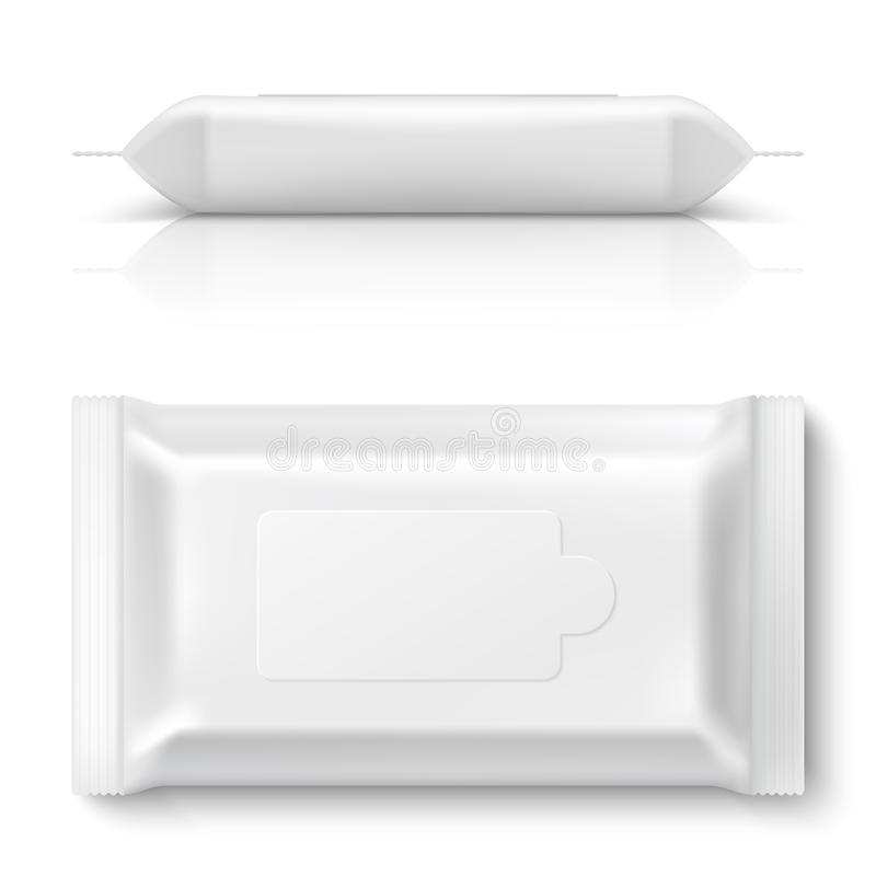 Le strofinate bagnate scorrono pacchetto Salviettina per neonati bianca realistica che imballa la scatola di plastica del tessuto illustrazione vettoriale