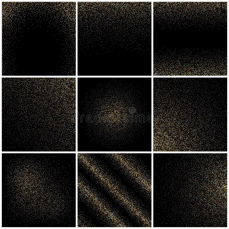Le strutture dorate del grano, coriandoli dell'oro piovono sul nero, insieme festivo di vettore degli ambiti di provenienza di sc illustrazione di stock