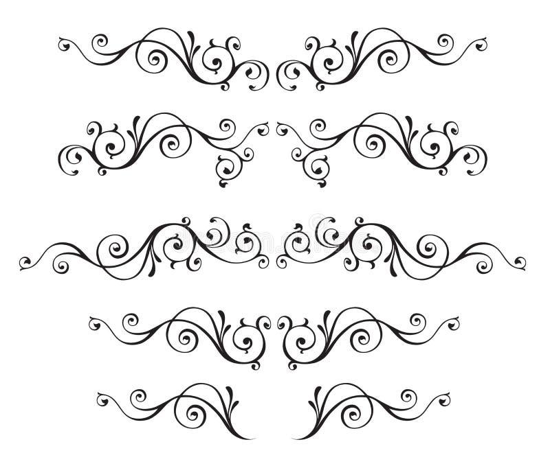 Le strutture ornamentali d'annata di vettore hanno messo isolato su bianco illustrazione di stock