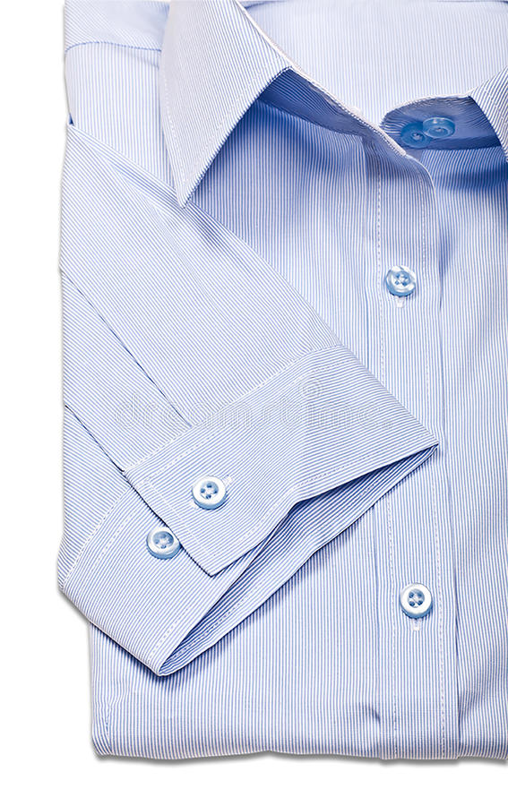 Le studio a tiré des chemises bleues du ` s d'hommes sur un fond blanc images libres de droits