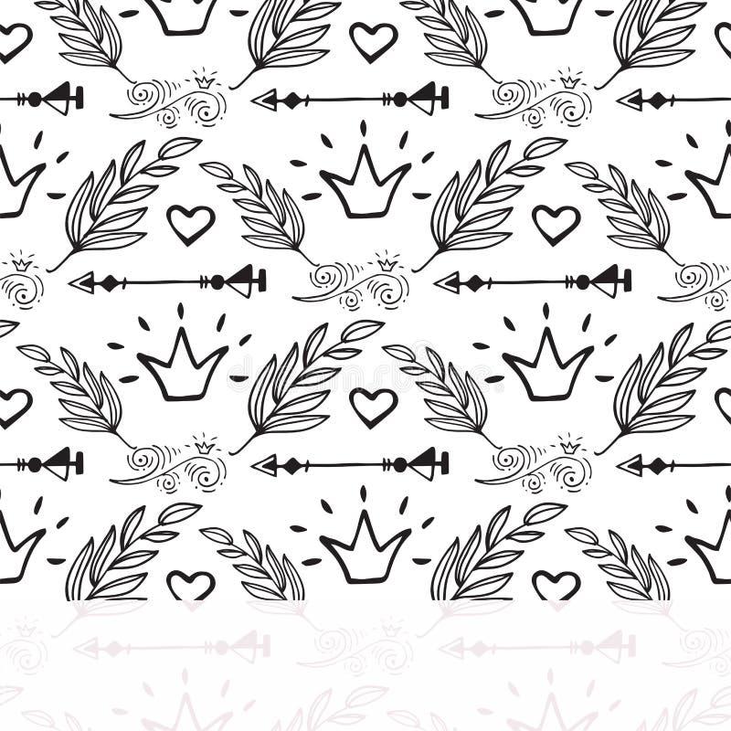 Le style créatif de boho encadre l'illustration sans couture de fond de modèle de plumes de vecteur d'éléments floraux ethniques  illustration de vecteur