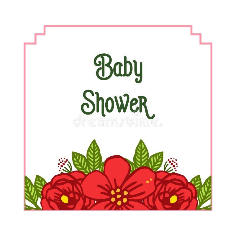 Le style d'illustration de vecteur de la fête de naissance de carte avec le bouqet rose rouge encadre la fleur illustration de vecteur