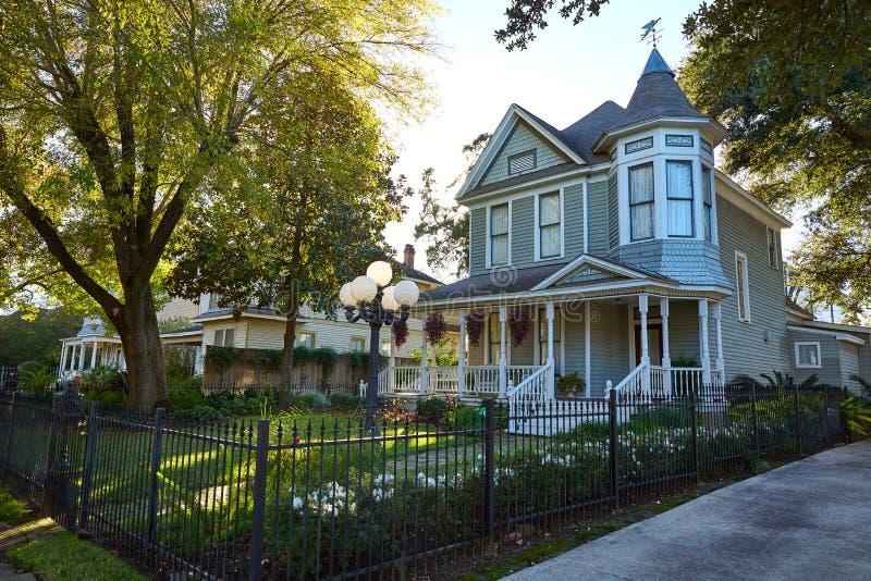 Le style de victorian de tailles de Houston loge le Texas images libres de droits
