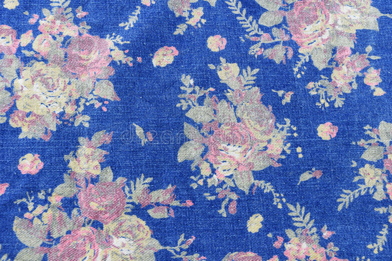 le style de vintage de la tapisserie fleurit le backgroun de modèle de jeans de tissu image stock
