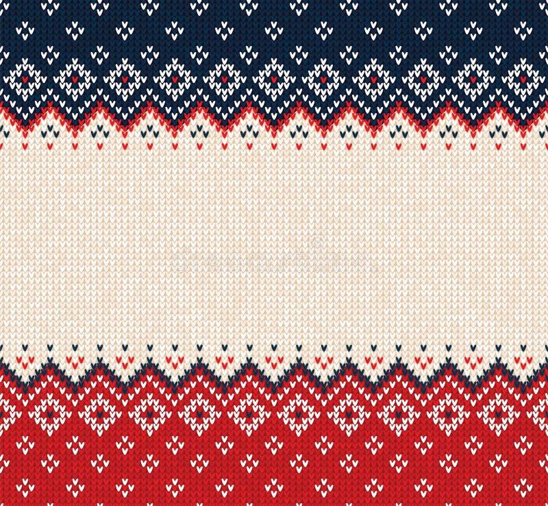Le style scandinave de chandail d'ornement laid de Joyeux Noël a tricoté la frontière sans couture de cadre de fond photo stock