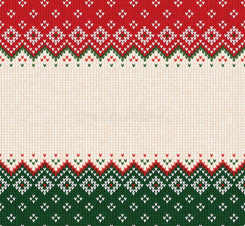 Le style scandinave de chandail d'ornement laid de Joyeux Noël a tricoté la frontière sans couture de cadre de fond photo libre de droits