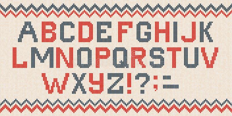 Le style scandinave de police folklorique de Noël a tricoté le modèle sans couture d'alphabet de lettres illustration libre de droits