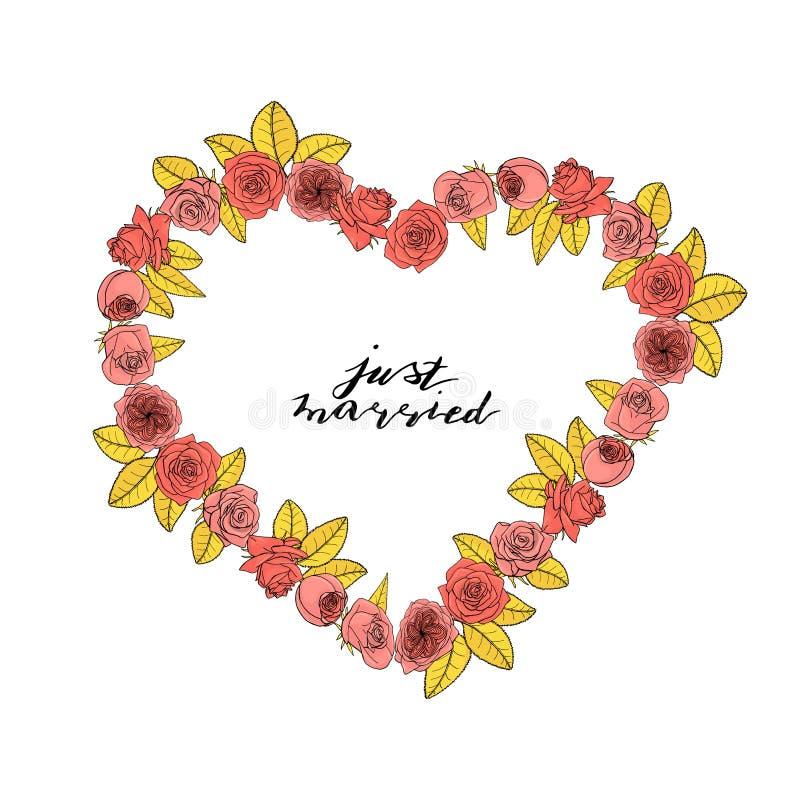 Le style tiré par la main de griffonnage a monté guirlande de forme de coeur de fleurs Illustration de la conception florale elem illustration libre de droits