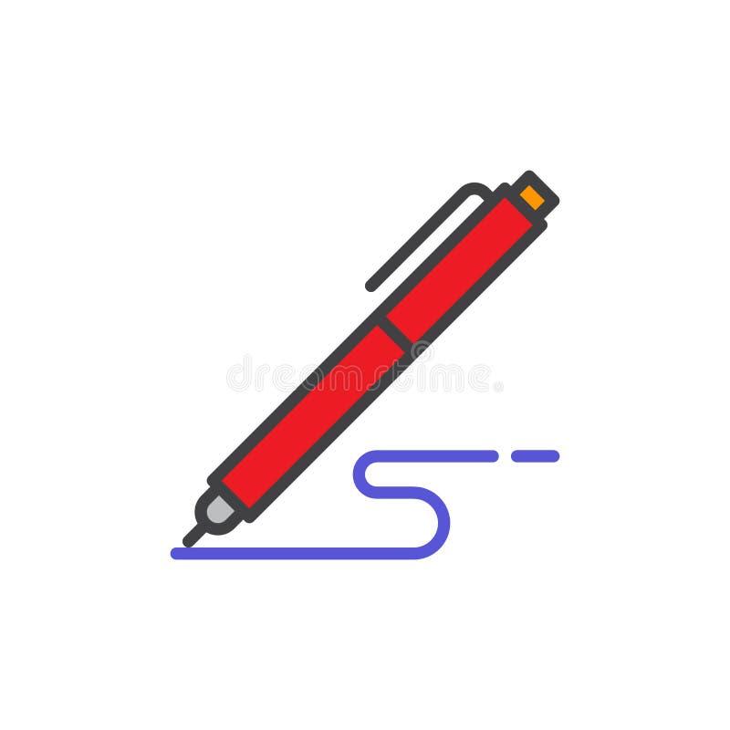 Le stylo, écrivent l'icône remplie d'ensemble, ligne signe de vecteur illustration de vecteur