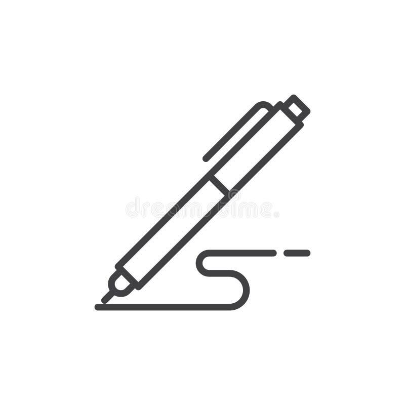 Le stylo, écrivent la ligne icône, signe de vecteur d'ensemble, pictogramme linéaire de style d'isolement sur le blanc illustration libre de droits