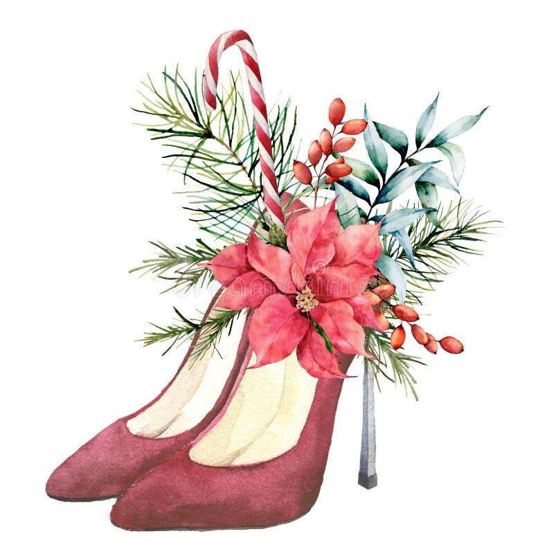 Le suède rouge d'aquarelle a gîté des chaussures avec le décor floral de Noël Branches peintes à la main de sapin, baies, feuille illustration stock