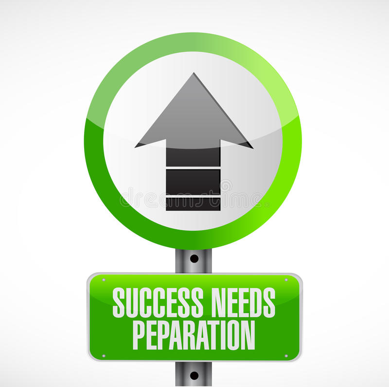 le succès a besoin de la plaque de rue de préparation illustration libre de droits