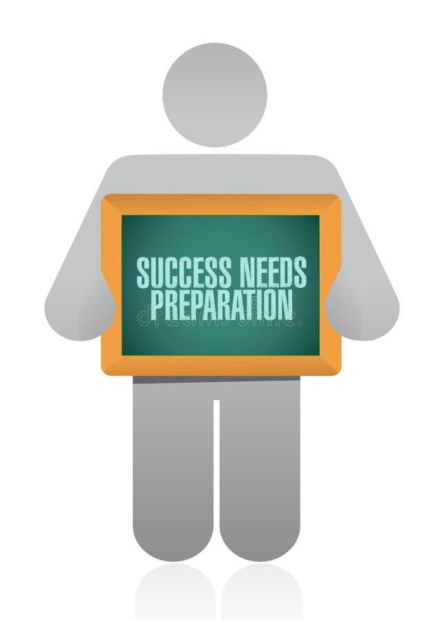 le succès a besoin du signe de conseil d'avatar de préparation illustration de vecteur