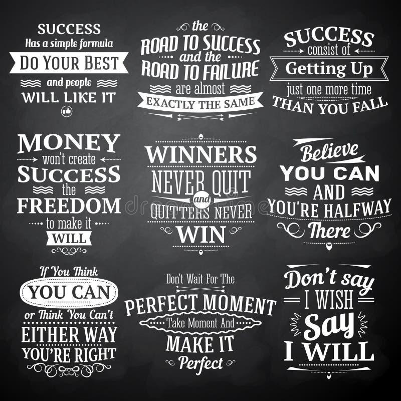 Le succès cite l'ensemble de tableau illustration stock