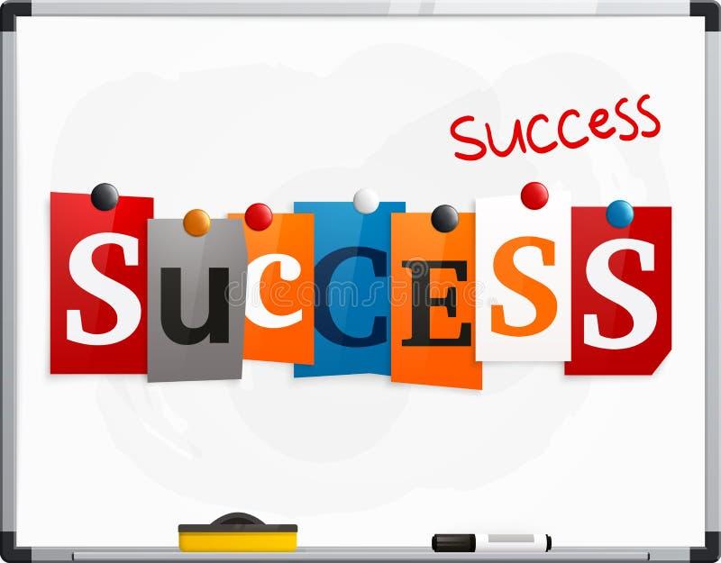 Le succès de mot fait à partir des lettres de journal jointes en annexe à un tableau blanc ou à un panneau d'affichage avec des a illustration de vecteur