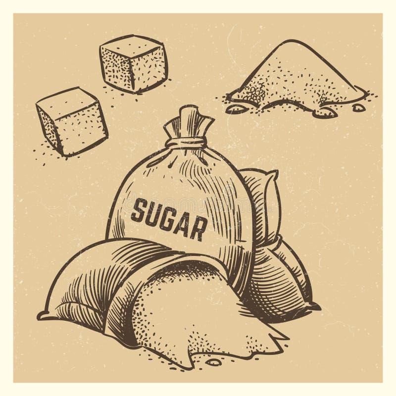 Le sucre de vecteur gribouille la collection Illustration de sucre de croquis illustration stock