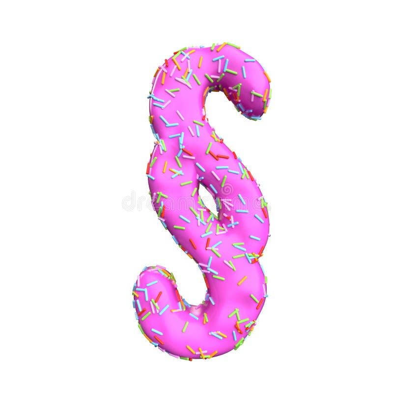 Le sucre rose arrosent le dollar-symbole d'isolement sur le fond blanc illustration libre de droits