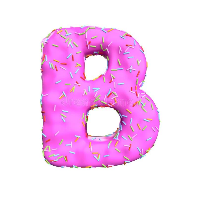 Le sucre rose arrosent la lettre B d'isolement sur le fond blanc illustration stock