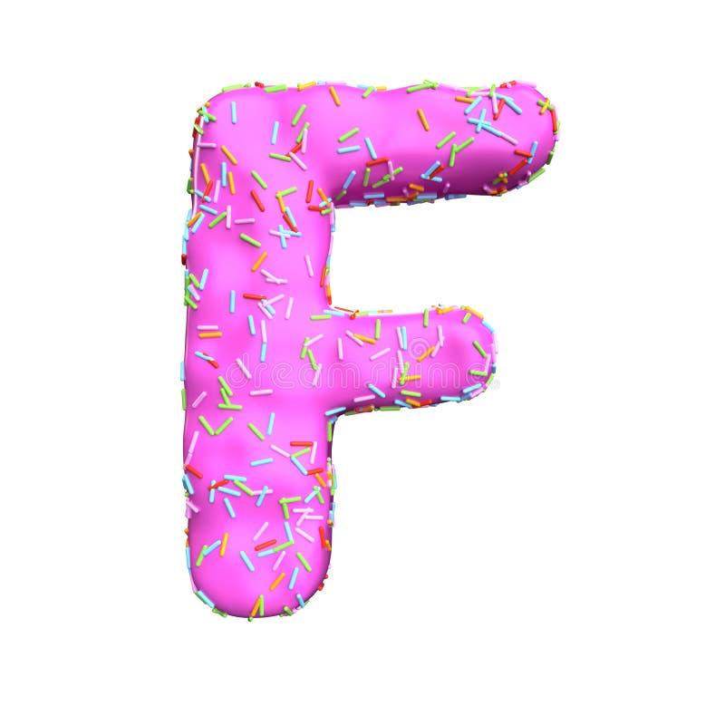 Le sucre rose arrosent la lettre F d'isolement sur le fond blanc illustration libre de droits
