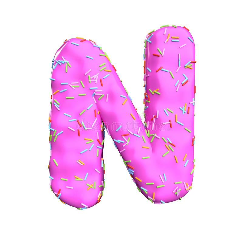 Le sucre rose arrosent la lettre N d'isolement sur le fond blanc illustration stock