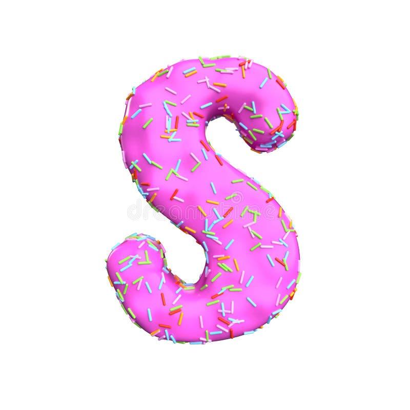 Le sucre rose arrosent la lettre S d'isolement sur le fond blanc illustration stock