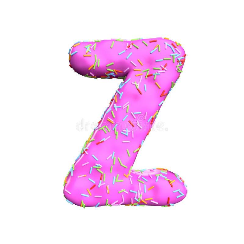 Le sucre rose arrosent la lettre Z d'isolement sur le fond blanc illustration de vecteur