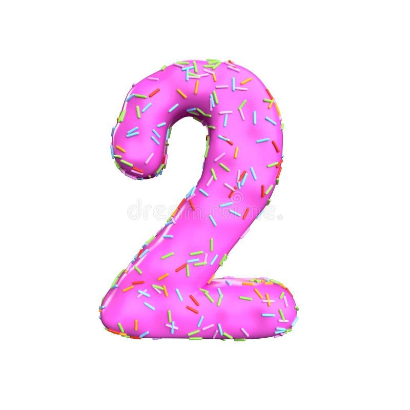 Le sucre rose arrosent le numéro 2 d'isolement sur le fond blanc illustration stock