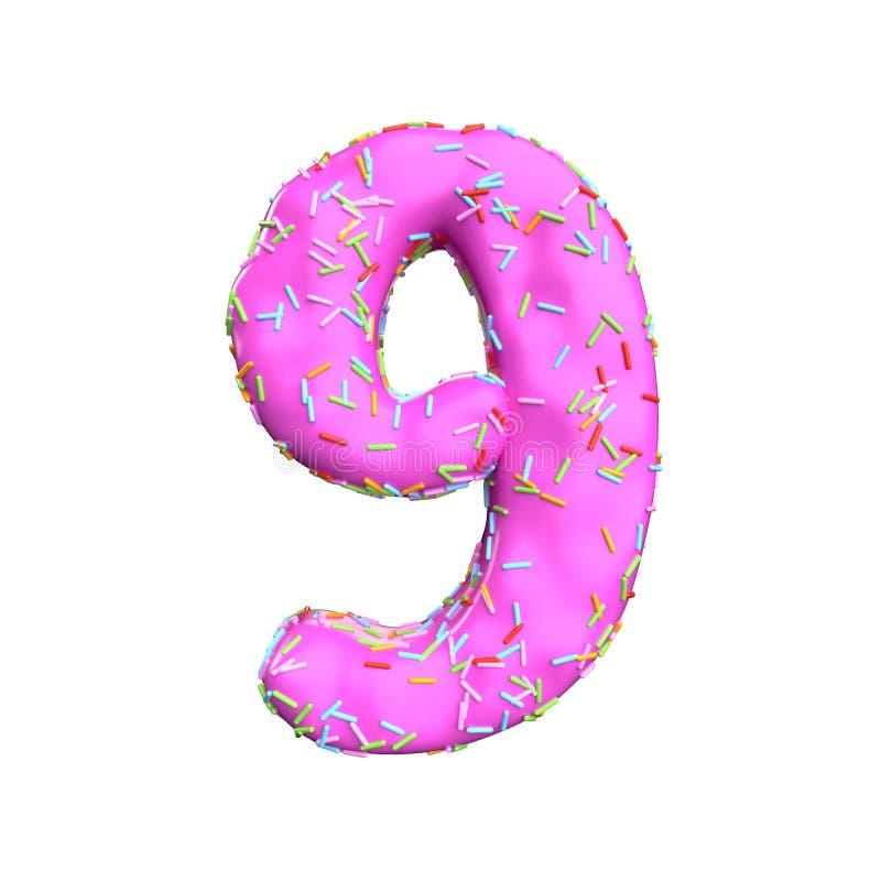 Le sucre rose arrosent le numéro 9 d'isolement sur le fond blanc illustration de vecteur