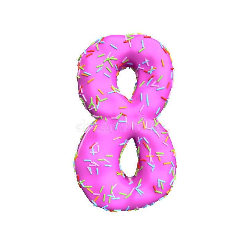Le sucre rose arrosent le numéro 8 d'isolement sur le fond blanc illustration libre de droits