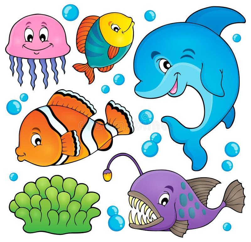 Le sujet de faune d'océan a placé 1 illustration stock